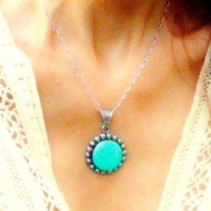 VTG Native American Sterling & Turquoise Pendant